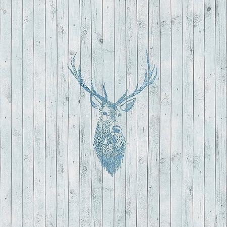 HaokHome 230903 Vintage Wood Wallpaper Rolls LtBlue DkBlue Grey Wooden