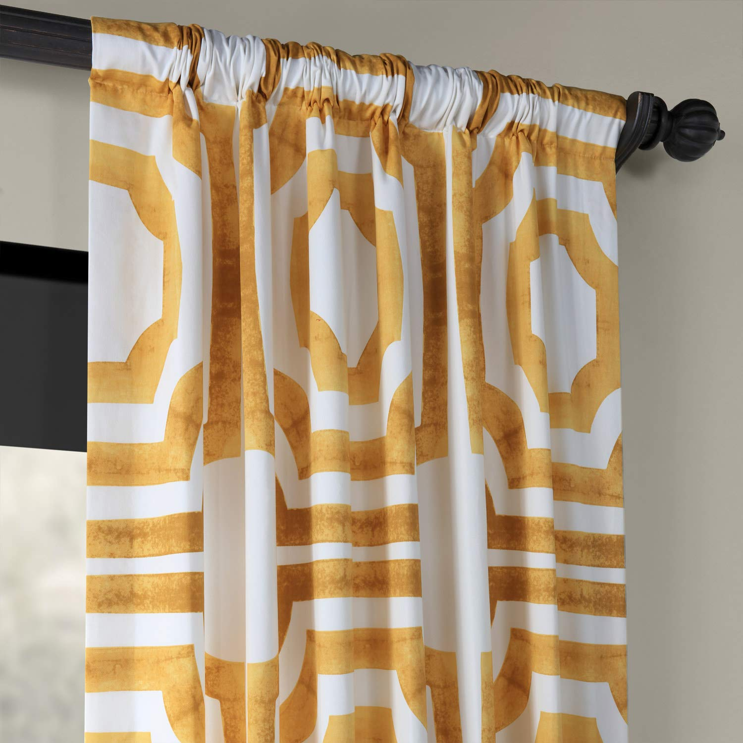 PRTW-D23A-120 Mecca Printed Cotton Curtain 50 x 120 Steel