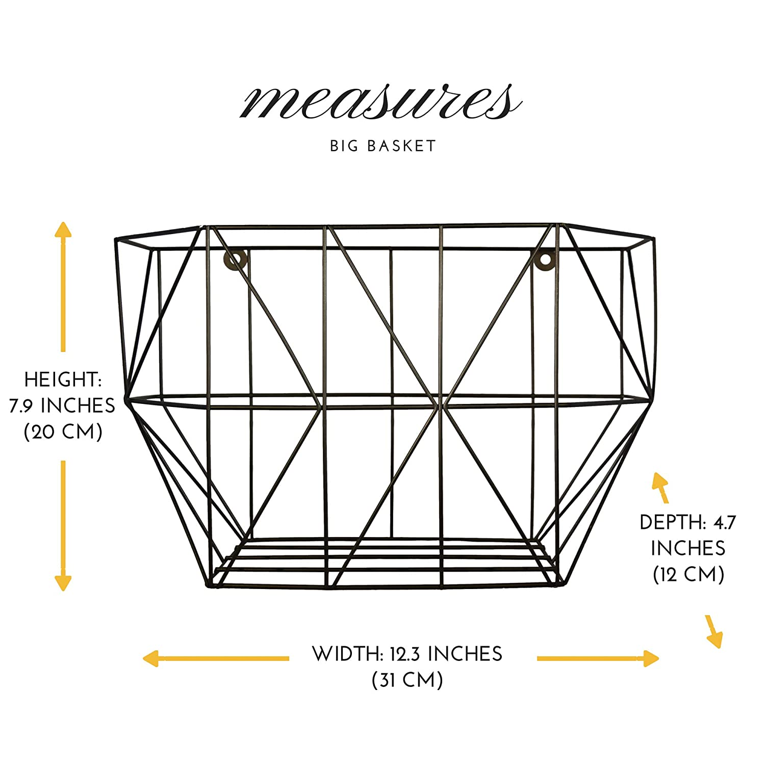 Wall Organizer Unit//Wire Baskets for Pantry for Use as Fruit or Produce Basket Scandinavian Hub Wall Fruit Basket with Hooks Farmhouse Wall Mounted Fruit Basket Set Wall Planter of 2 Black
