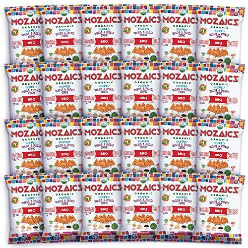 (Mozaics Organic Popped Veggie & Potato Chips- Healthy snack~100 calorie snack, better than veggie straws or stix - gluten free - 0.75oz single serve bags (BBQ,)