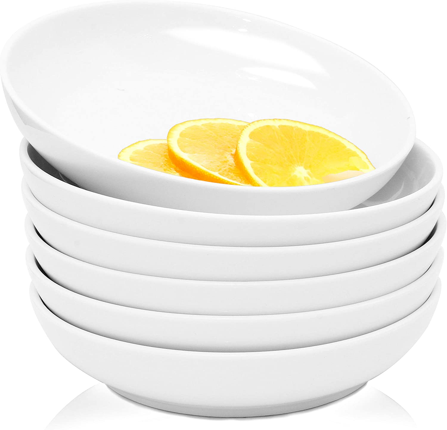 Youngever 22 Ounce Porcelain Salad Pasta Bowls, Set of 6, White Porcelain Deep Plates, Entree Bowls, Ceramic Plates, Microwave Safe, Dishwasher Safe