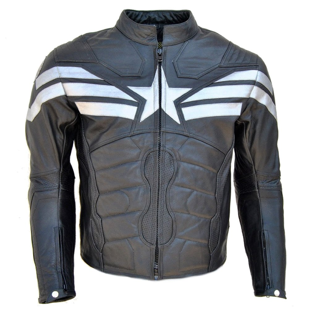 SleekHides Men's Big Captain Artificial Leather Winter Soldier Jacket 3X-Large Faux Black