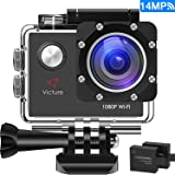 "Victure WIFI Action Cam Full HD 1080P 14MP Sport Action Camera Impermeabile 2 ""LCD 170 ° Gradi con 2 Batteria 20+ Kit Accessori"
