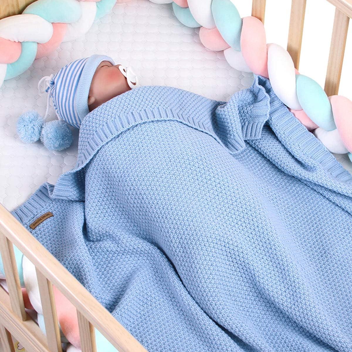 Leyeet Manta de ganchillo para bebé y niña, manta de ganchillo para recién nacido, color opcional azul azul celeste Talla:Baby