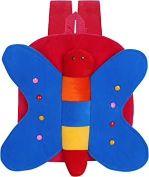 Blue Tree Velvet Kids School/Nursery/Picnic/Carry/Travelling Bag - 2 to 5 Age (Best_Red_Butterfly)