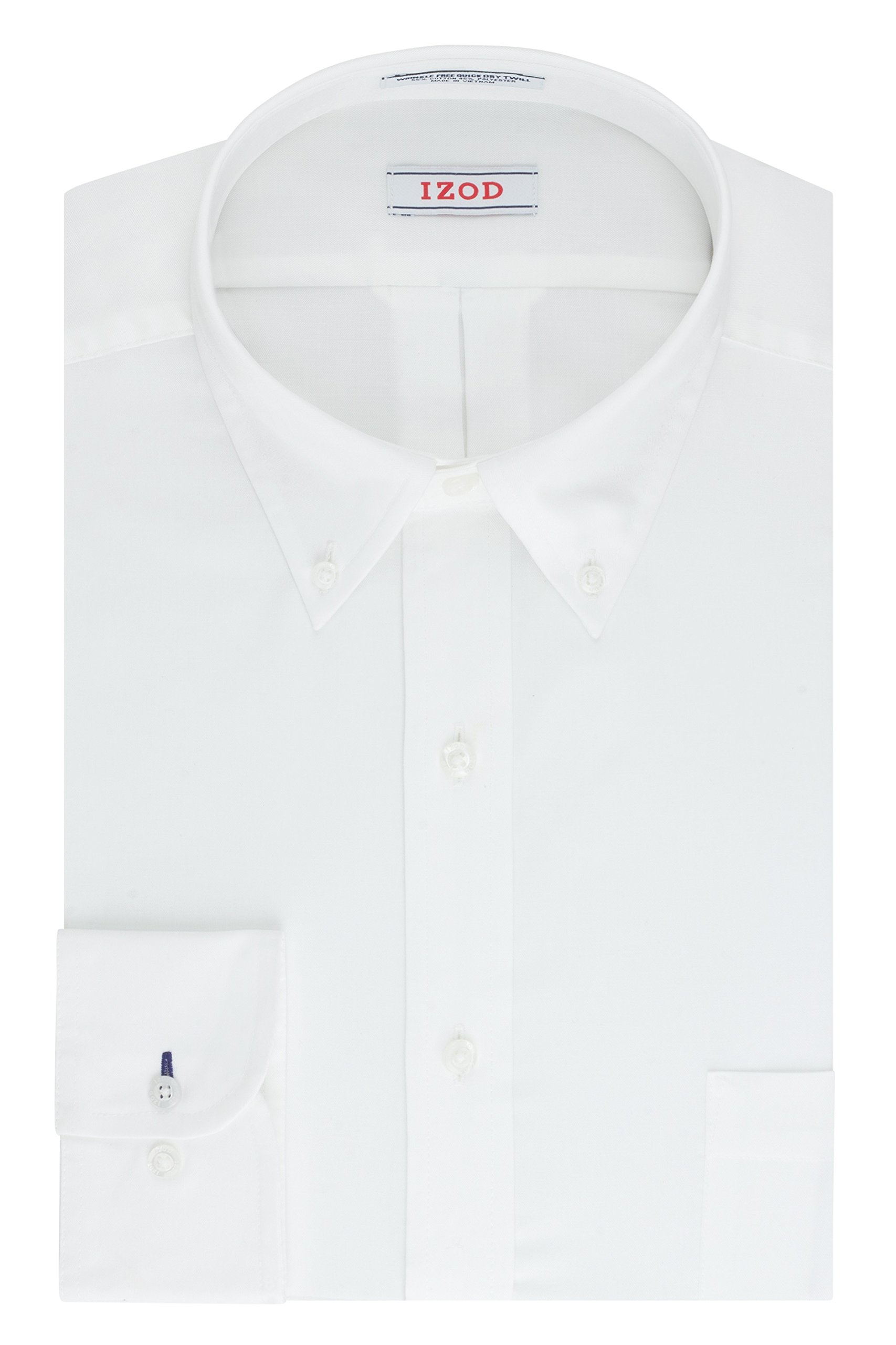 IZOD Men's Twill Regular Fit Solid Button Down Collar Dress Shirt, White, 17.5'' Neck 34''-35'' Sleeve
