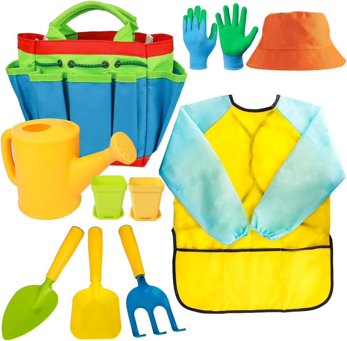 Meland Kids Gardening Tools - Toddler Garden Tools Set - Kids Metal, Shovel, Rake, Trowel in One Tote Bag with Watering Can, Gardening Gloves, Smock - Garden Toys Gift for Preschool Boys & Girls