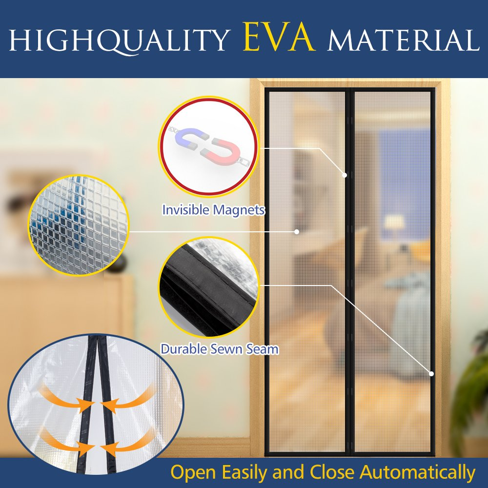 [Upgraded Version] Magnetic Screen Door with Thermal and Insulated EVA,Transparent Door Curtain Enjoy Cool Summer & Warm Winter Help Saving Electricity & Money, Fits Door Size up to 34''x82'' Max- Black by EasyLife185 (Image #4)