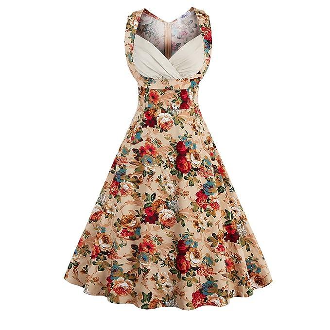 Las Mujeres de 50s Vintage Dress Pin Up Hepburn Retro con Cuello en V Vestido de