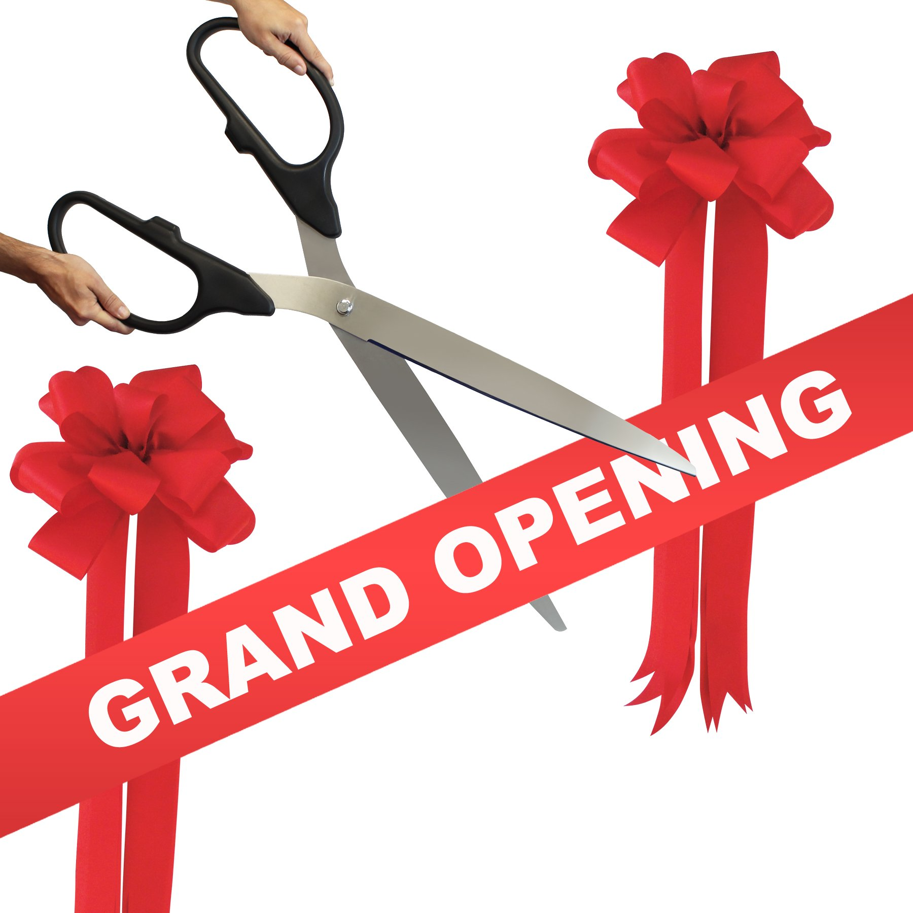 Grand Opening Kit - 36'' Black/Silver Ceremonial Ribbon Cutting Scissors with 5 Yards of 6'' Red Grand Opening Ribbon and 2 Red Bows by Engraving, Awards & Gifts