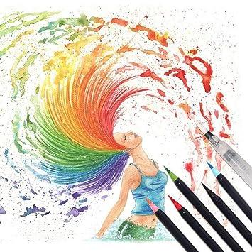 Watercolour Brush Pens, 20 Colours Brush Pens Set Marker Soft ...