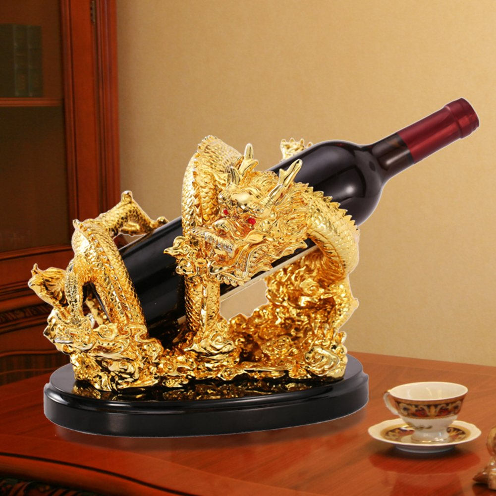 Golden dragon bottles wine rack, Wine holder creative strong and decorative wine standing decor-A L10.6W8H8.6inch(272122cm) by bestwineholder