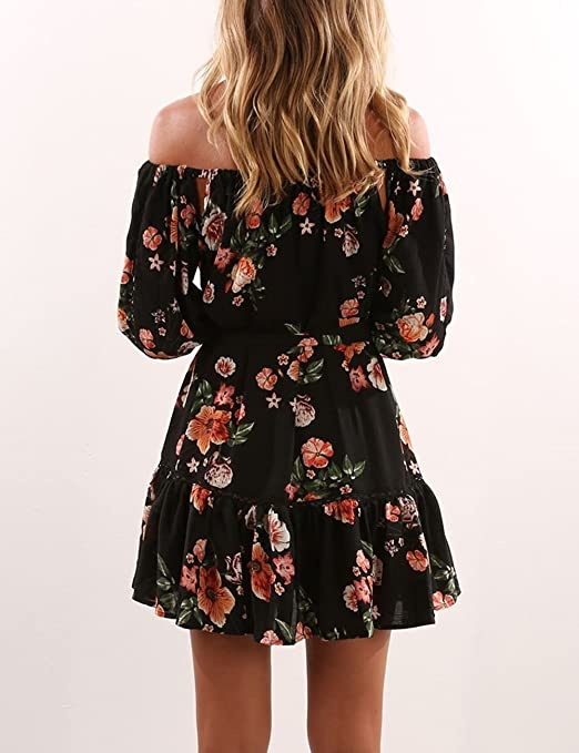 f5b9c217aca Yuandy Womens Summer Off Shoulder Floral Print Pleated Mini Strapless Dress  Black at Amazon Women s Clothing store