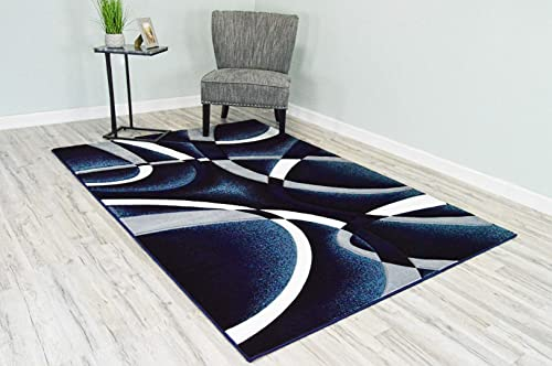 Premium 3D Effect Hand Carved Thick Modern Contemporary Abstract Area Rug Design 2305 Navy Blue 4'x5'3''