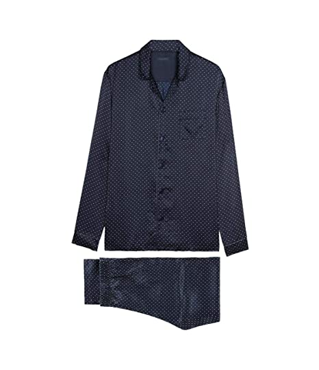 466dfcf3be33 Intimissimi Mens Long Button-Front Silk Pyjamas with Print: Amazon.co.uk:  Clothing
