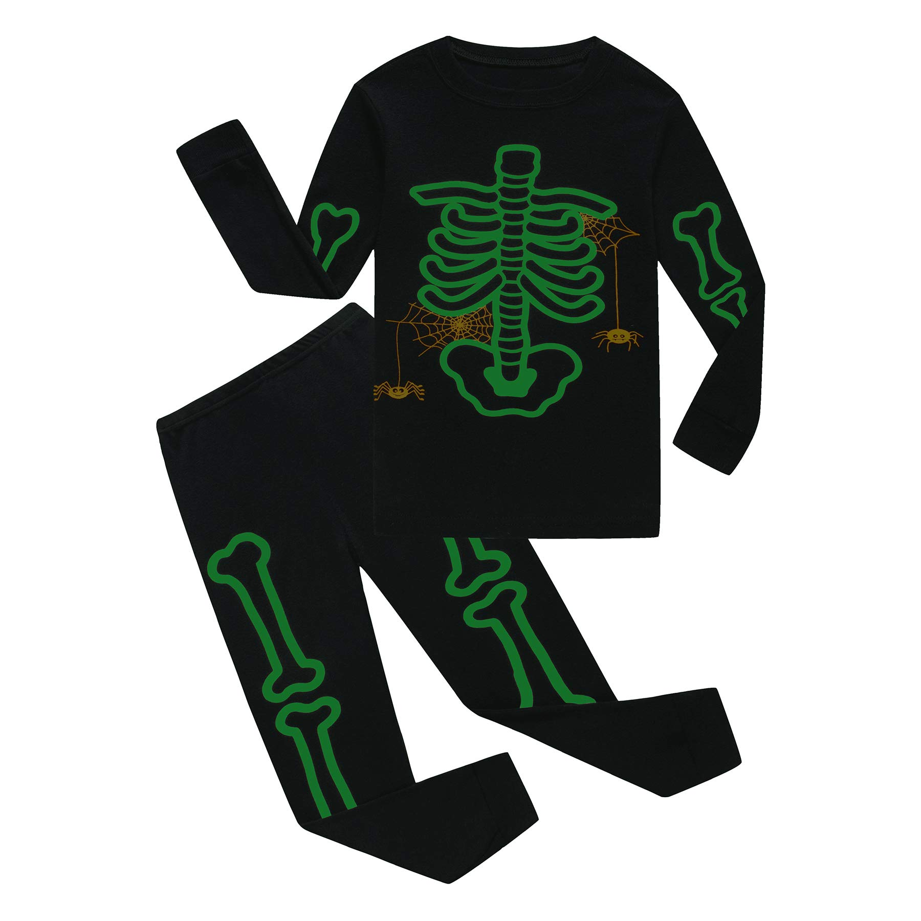 Family Feeling Halloween Skeleton Little Boys Girls Pajamas Sets 100% Cotton Clothes Costumes Toddler Kids Pjs Size 5 by Family Feeling (Image #3)
