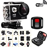 CHICPICK 2.0 Inch 12MP WIFI Waterproof Sports Camera Kit Include Remote Control , Wrench Spanner , Shockproof Carry Bag - Full HD 1080P HDMI Helmet Action Camera Diving Cam Set 170° Wide Angle Lens