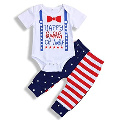 b88beb736 Amazon.com: 4th of July Newborn Baby Boy Outfits Gentleman Romper+Star  Stripe Pants Independence Day 2PCS Set: Clothing