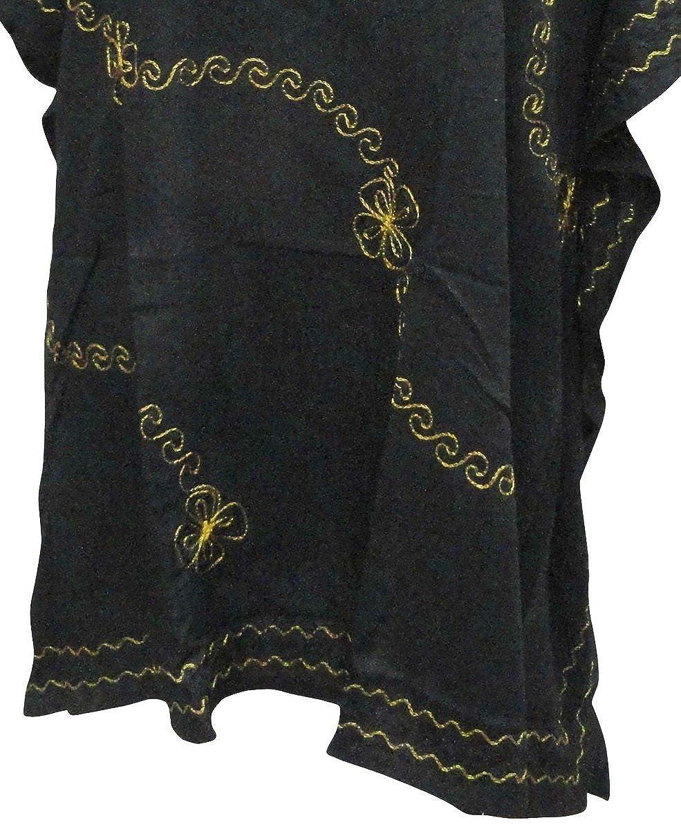 LA LEELA Boho Women Rayon Embroidered Tunic Caftan Kimono Oversized Short Midi Loungewear Holiday Nightwear Everyday Beach Cover UP Plus Size Kaftan AL