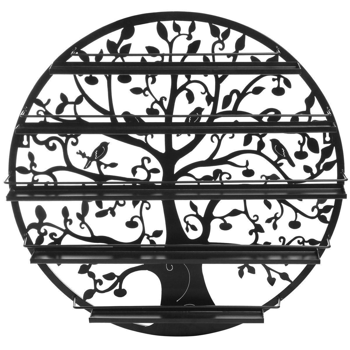 Tree Silhouette Black Round Metal Wall Mounted 5 Tier Salon Nail Polish Rack Holder / Wall Art Display MyGift COMINHKPR60206