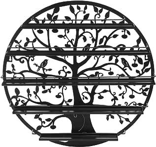 Árbol silueta negro redondo de metal montado en la pared 5 Nivels estante de esmalte de uñas/Exhibición de arte de la pared