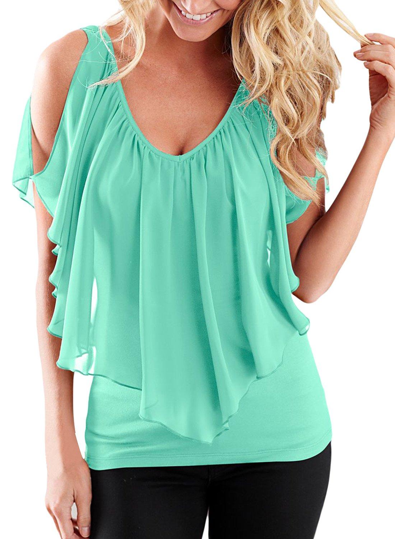 AlvaQ Womens Summer Sexy Short Sleeve Loose V Neck Top Blouses Plus Size Medium Green