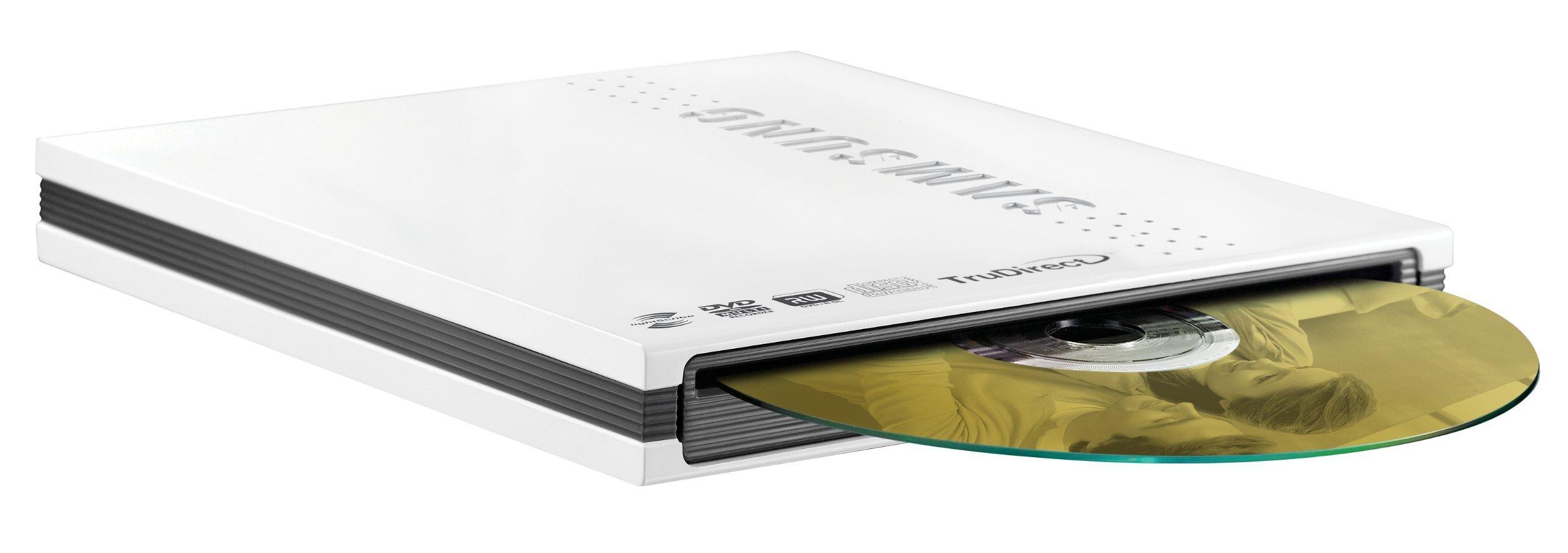Samsung SE-T084M/RSWD External Slim Slot Load USB Lightscribe DVD Writer (White)