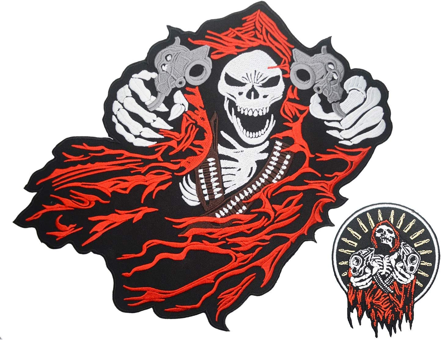 """Grim Reaper skeleton  Embroidered iron on patch 4.5/"""" x 4/"""""""