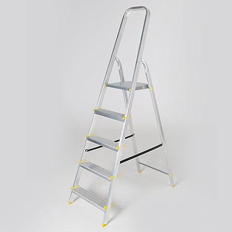 Escalera de aluminio 5 peldaños Escalera escalera plegable Escalera plegable: Amazon.es: Jardín