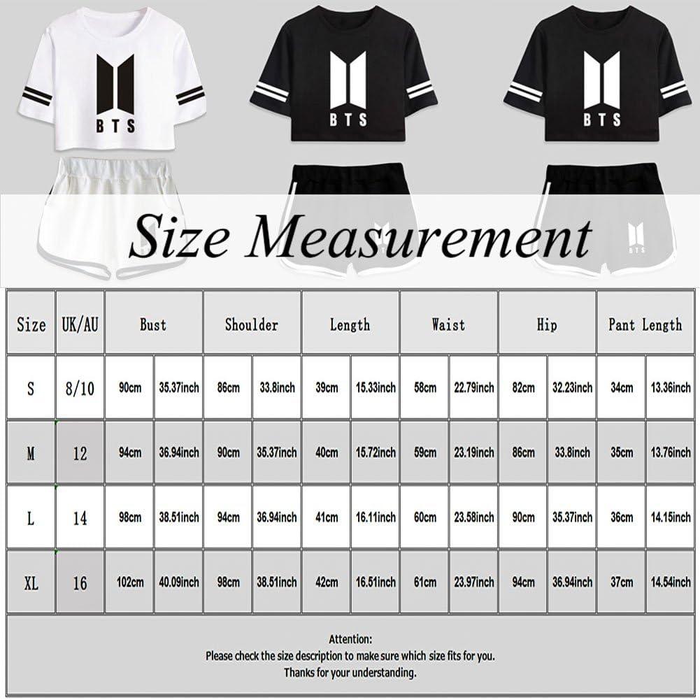 Saicowordist Femme BTS Bangtan Boys Tee Shirt+Short Ensemble Sport Short Deux Pi/èces Bloom Army Fans Suga Jin Jimin Jungkook