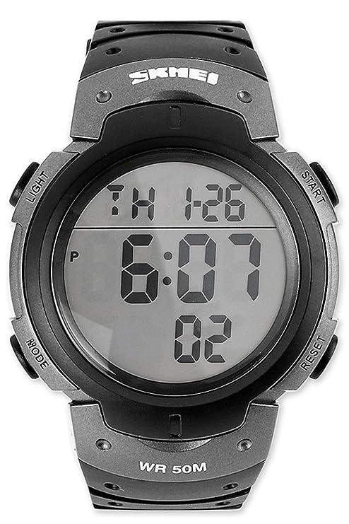 números grandes, muy fácil de leer LED Digital Reloj de pulsera para hombre Multifuncional 5ATM