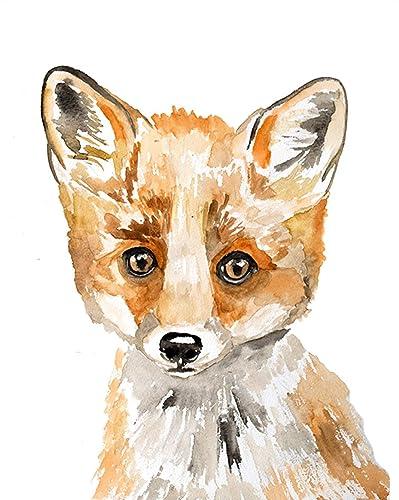 Amazon Com Watercolor Fox Art Print Fox Fox Art Fox Nursery Woodland Animals Woodland Fox Orange Fox F Is For Fox Baby Fox Baby Animal Prints Handmade