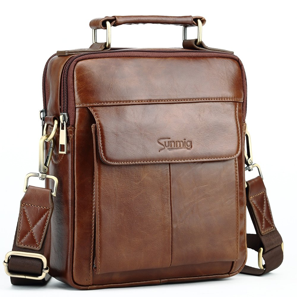 Sunmig Men's Genuine Leather Shoulder Bag Messenger Briefcase CrossBody Handbag (Brown) by Sunmig (Image #1)