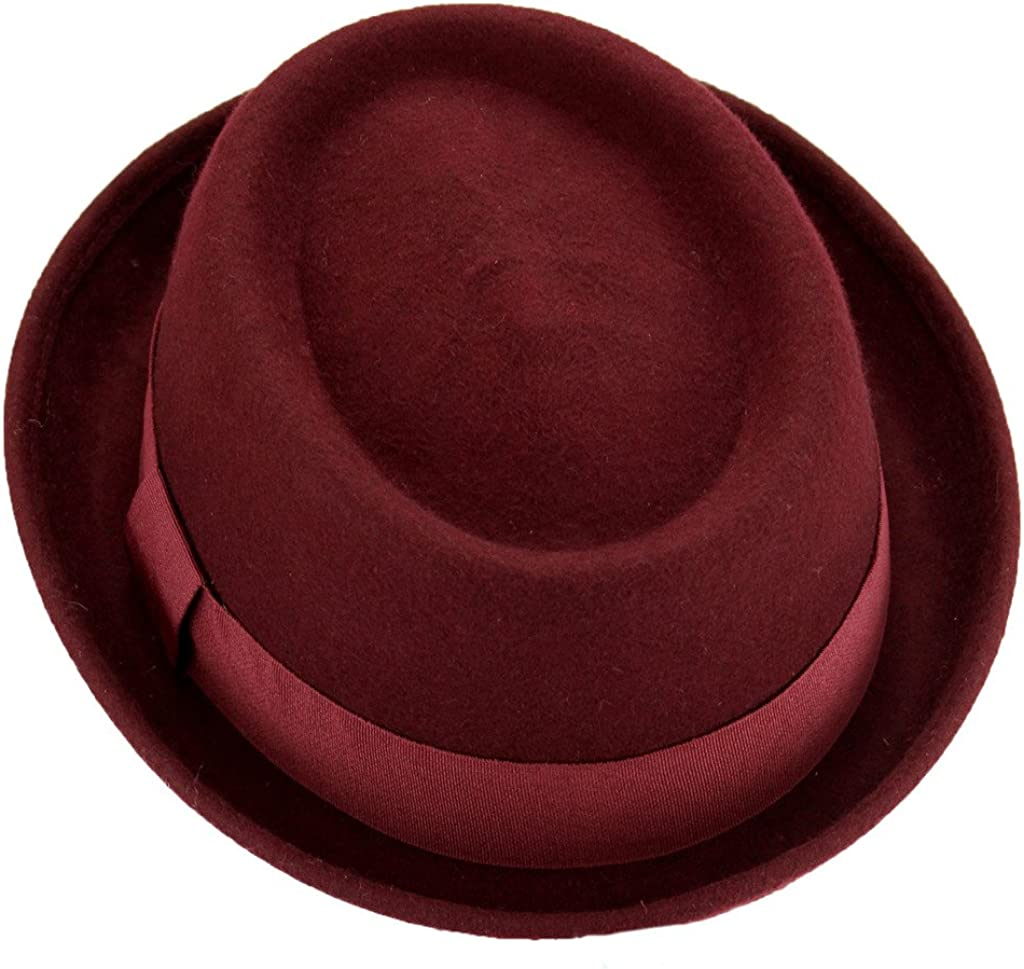 Grey OR Maroon Hawkins Wool Felt Pork Pie HAT with Grosgrain Band Blue