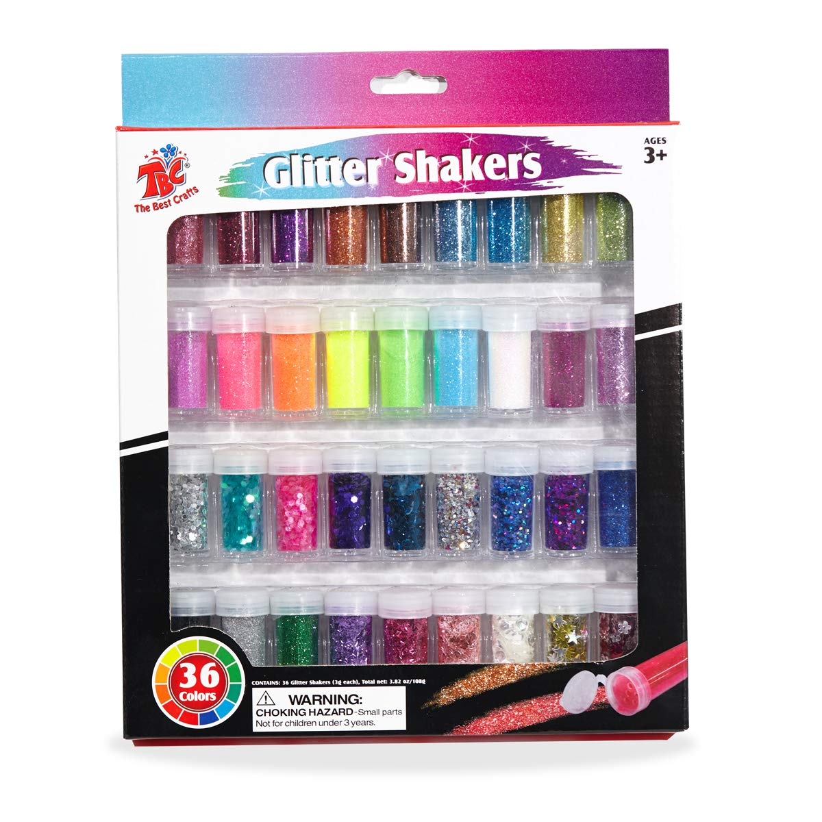 36 Glitter Shaker Jar Set, Extra Fine/Metallic Sparkling Strips/Holographic Cosmetic/Sequins Paillette/Confetti Shapes Glitter for Slime, Arts & Crafts Supplies