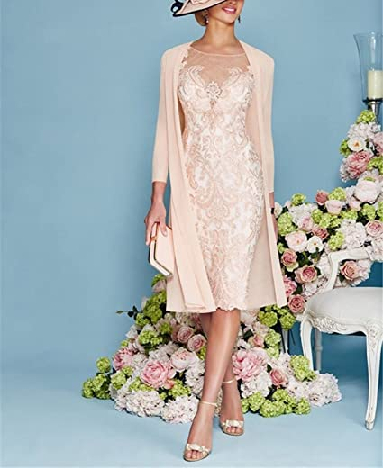 Photo of APXPF Light Pink Women's Mother of The Groom Dresses Tea Length with Jacket