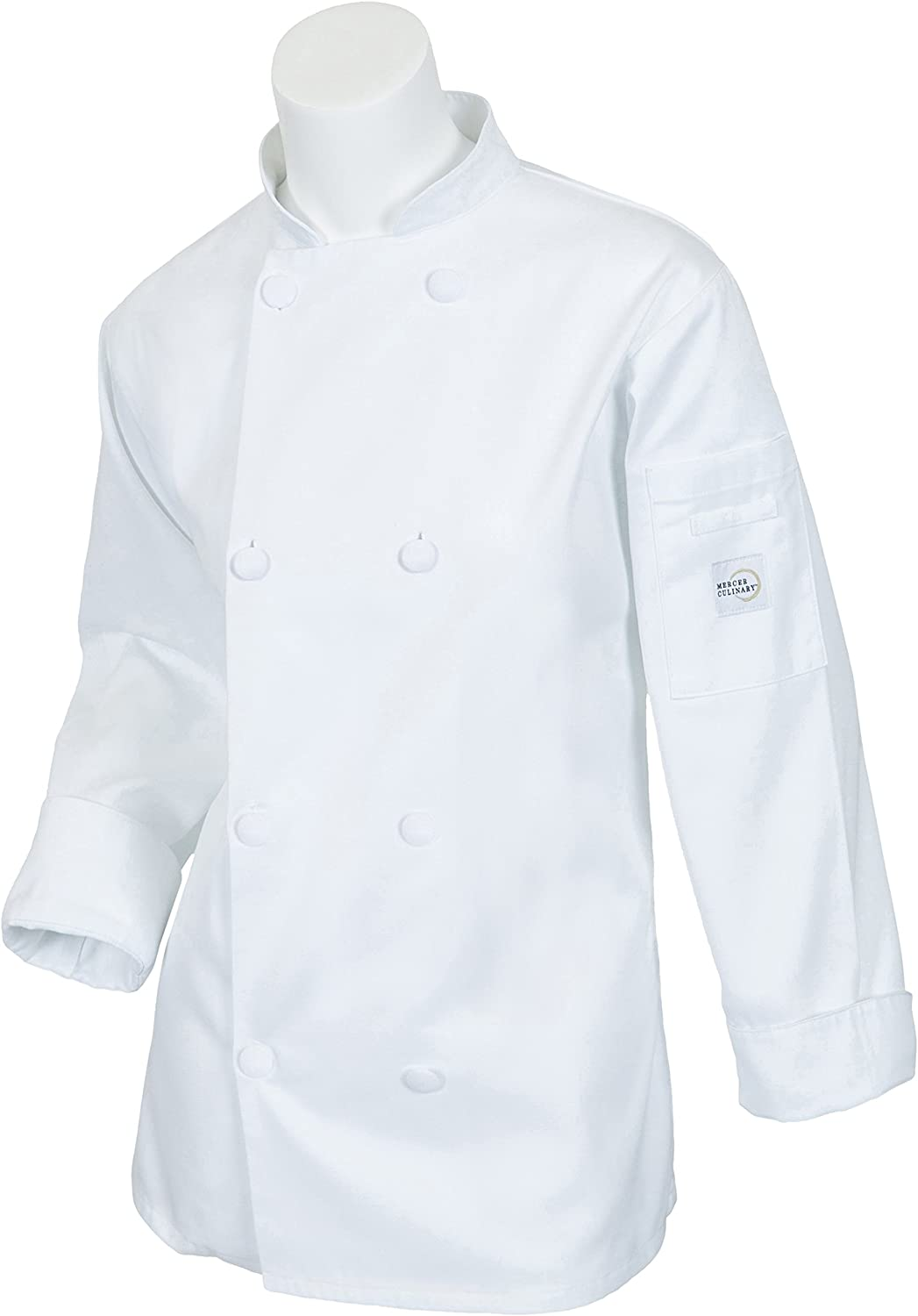 Mercer Culinary Millennia Women's Cook Jacket with Cloth Knot Buttons, X-Small, White