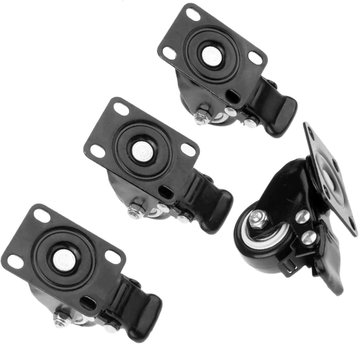 Mtsooning Swivel Caster Wheels with Safety Dual Locking 4pcs 1.5 Mute Stem Swivel Rubber Base Bearings Rollers for Carts Trolley