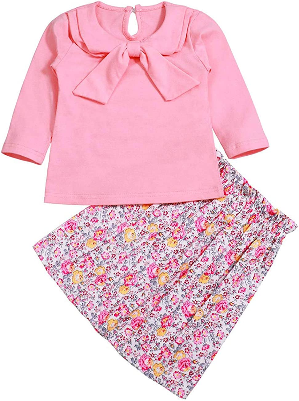 Baby Toddler Girls Long Sleeve Bowtie Shirt Elastic Floral Skirt Outfits Set Little Princess Basic Dress Clothes