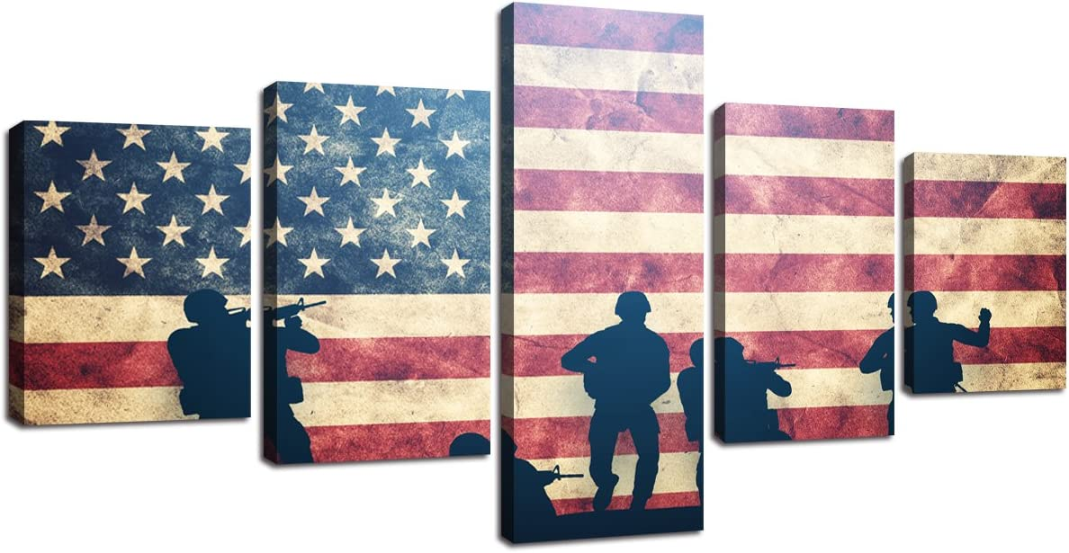 Vintage American Flag Military Pictures for Living Room Retro USA Flag Modern Patriotic Wall Art Painting on Canvas 5 Panels Framed Posters and Prints Artwork Home Bedroom Office Decor (50''Wx24''H)