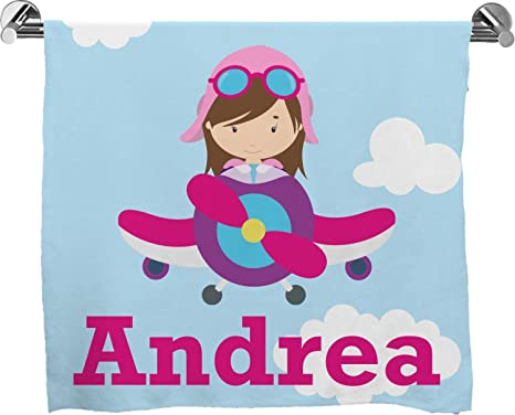 Avión y piloto de la muchacha toalla de baño (personalizado)