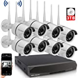 Wireless Security Camera System, 8 Channel Surveillance NVR Recorder and 8Pcs 1080P Home Outdoor Motion Activated IP Bullet S