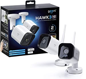 Geeni HD Hawk 3 1080p Outdoor Security Camera, IP66 Weatherproof WiFi Surveillance with Night Vision and Motion Detection, Works with Alexa and Google Home, No Hub Required, 2 Pack