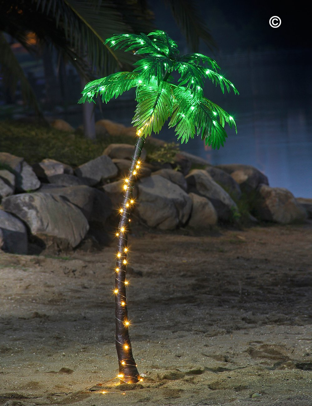 amazoncom lightshare 5ft palm tree 56led lights decoration for home party christmas nativity pool home kitchen - Christmas Palm Tree