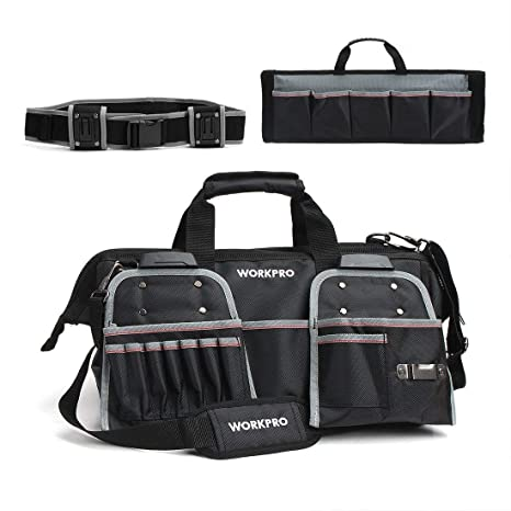 6b3a015c9b WORKPRO 18-Inch Heavy Duty Tool Bag with Tool Belt Pouches