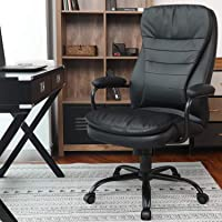 Amolife Big and Tall Office Chair/Heavy Duty Executive Computer Chair/Adjustable Desk Chair/Large Home Office Chair with Armrest, 350lbs Capacity, SGS/BIFMA Certified in Black