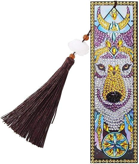 DIY Peafowl Special Shape Diamond Painting Creative Leather Tassel Bookmark Kit