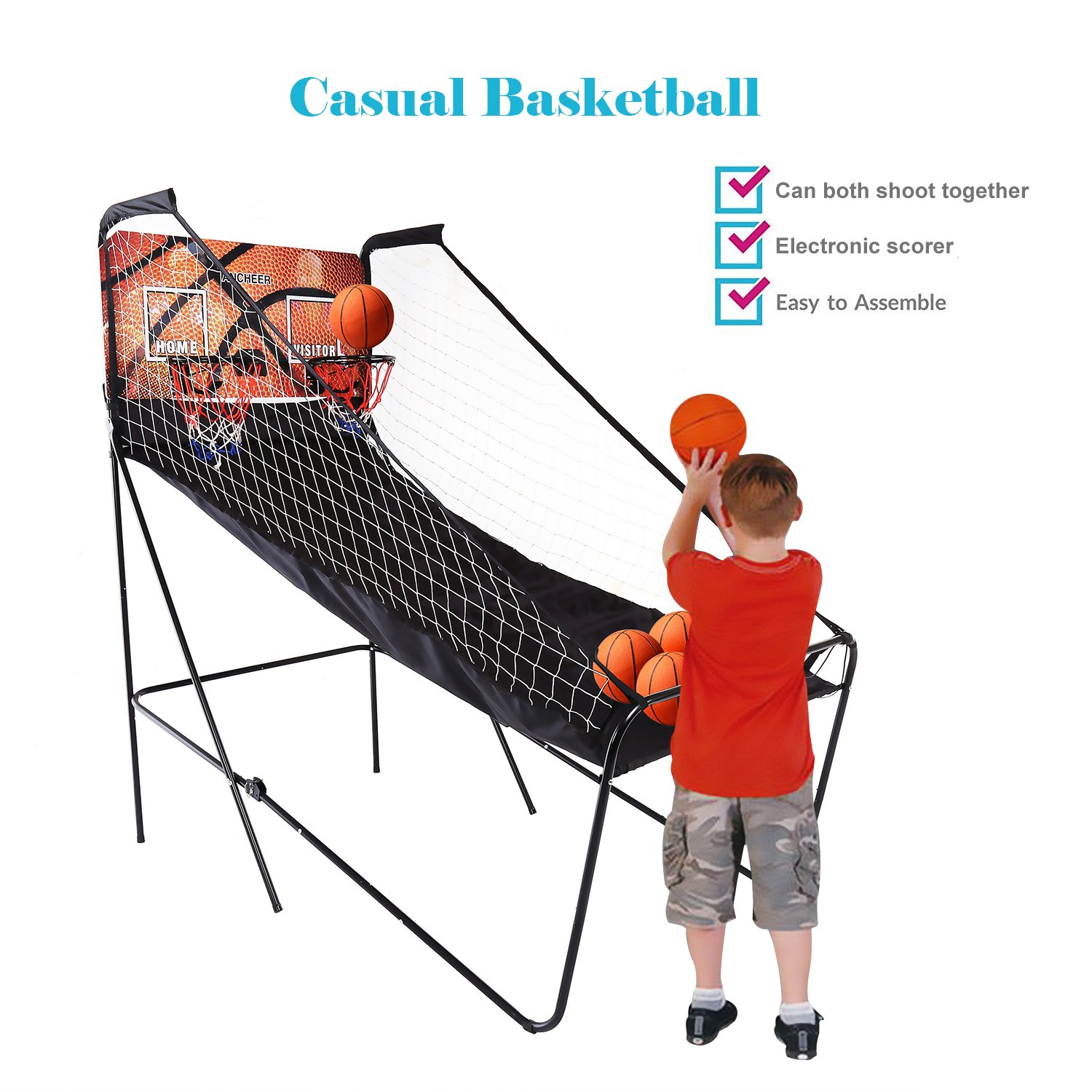 Kemanner Indoor Basketball, Folding Electronic Basketball Game 2 player Double Shot 8-in-1 Electronic Hoops Scoring with 5 Balls (US Stock)