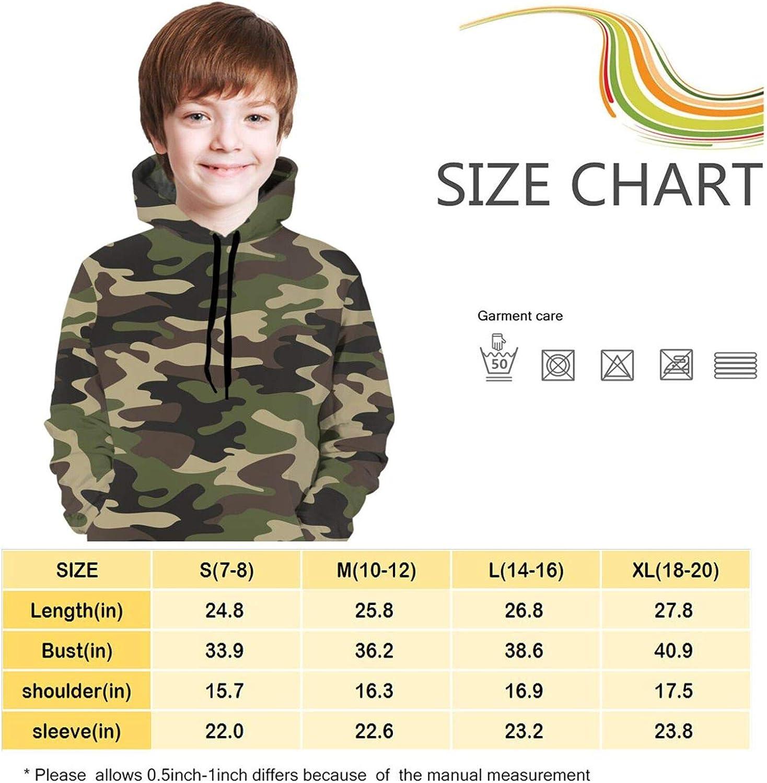 Kpz Camo Teenager Pullover Hoodie Camo for Boys Girls Long Sleeve Hooded Sweatshirt