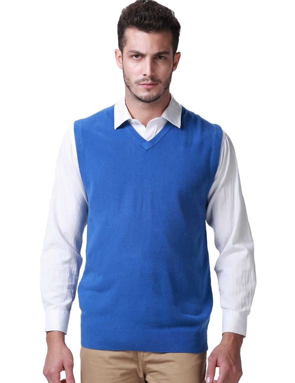SSLR Men's Solid Color Regular Fit V Neck Pullover Casual Sweater Vest (Large, Elegant Blue)